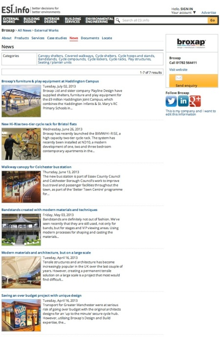 Broxap news archive ESI.info